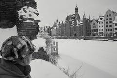 Nieve en edificios Foto de archivo libre de regalías