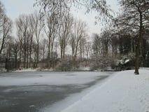 Nieve en el hielo en una piscina local en la guarida aan IJssel, los Países Bajos del nieuwerkerk Imagen de archivo