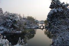 Nieve en el lago Foto de archivo