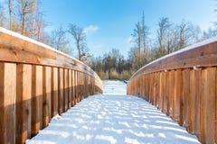 Nieve en el puente de madera en área del bosque Imagen de archivo