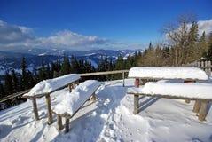 Nieve en el vector y asientos Fotos de archivo