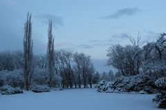 Nieve en Holtebro en Dinamarca Fotografía de archivo libre de regalías