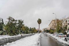 Nieve en Jerusalén Foto de archivo libre de regalías