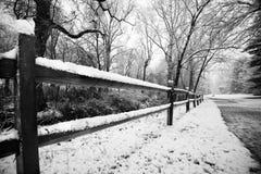 Nieve en la cerca Foto de archivo