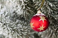 Nieve en la chuchería roja de la Navidad Imagen de archivo