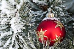 Nieve en la chuchería roja de la Navidad Imagen de archivo libre de regalías