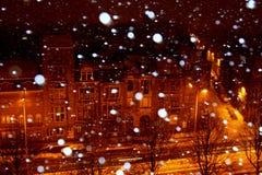 Nieve en la ciudad Foto de archivo