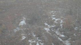 Nieve en la ciudad Nieve de la ventana nevadas almacen de video