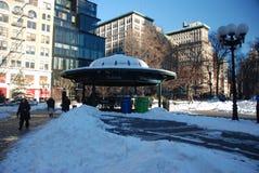 Nieve en la estación del cuadrado de la unión fotos de archivo