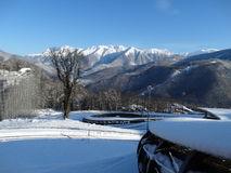 Nieve en la montaña Fotos de archivo libres de regalías