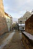 Nieve en la pared lateral de pasos Fotografía de archivo libre de regalías