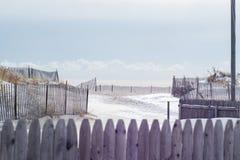 Nieve en la playa Foto de archivo libre de regalías
