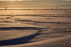 nieve en la puesta del sol Foto de archivo libre de regalías