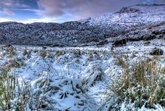 Nieve en las montañas Tramuntana en la isla de Mallorca foto de archivo