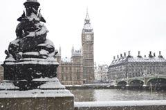 Nieve en Londres Foto de archivo libre de regalías