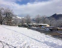 nieve en Lugano Fotografía de archivo