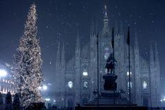 Nieve en Milano Foto de archivo libre de regalías