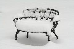 Nieve en silla de cubierta Foto de archivo libre de regalías