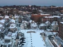 Nieve en Stamford, Connecticut Foto de archivo