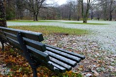 Nieve en Tiergarten, Berlín Fotos de archivo