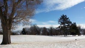 Nieve en un campo de golf Fotos de archivo