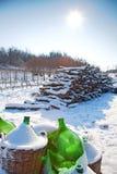 Nieve en un patio italiano Fotografía de archivo libre de regalías