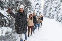 Nieve Forest Young People Walking Outdoor del grupo de los amigos de la ventaja del hombre fotos de archivo libres de regalías