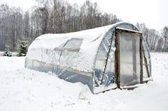Nieve hecha en casa diy de madera del polietileno del invernadero Fotografía de archivo libre de regalías