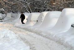 Nieve - invierno extremo en Rumania Imágenes de archivo libres de regalías