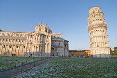 Nieve ligera en el dei Miracoli, Pisa, Italia de la plaza Imagen de archivo libre de regalías