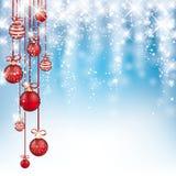 Nieve que cae congelada azul de las chucherías rojas de la Navidad del cielo ilustración del vector