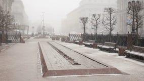Nieve que cae del cielo en la ciudad Ciudad en invierno Gente que camina en el tiempo nevoso almacen de metraje de vídeo