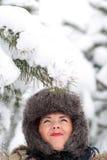 Nieve que cae en el casquillo Imagen de archivo