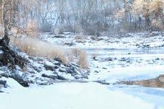 Nieve que cae en escena del río Fotografía de archivo libre de regalías