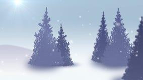 Nieve que cae en la animación realista del bosque del árbol de abeto 4K ilustración del vector