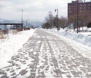 Nieve que cae en la calle Fotografía de archivo