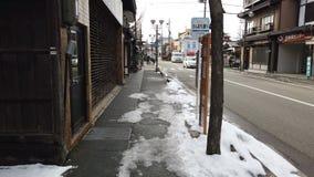 Nieve que cae en la ciudad de Takayama