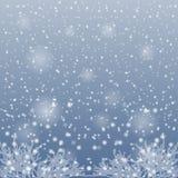 Nieve que cae en las ramas de árboles Imágenes de archivo libres de regalías