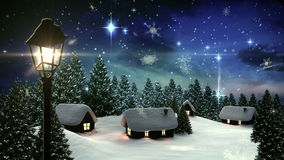 Nieve que cae en pueblo lindo en bosque ilustración del vector