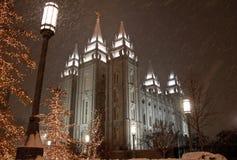 Nieve que cae en Salt Lake City Foto de archivo libre de regalías