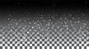 Nieve que cae en un fondo transparente Fotos de archivo libres de regalías