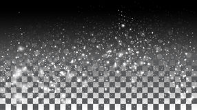 Nieve que cae en un fondo transparente Foto de archivo libre de regalías