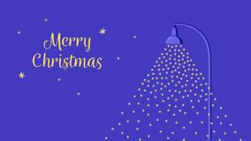 Nieve que cae encendida por una lámpara de calle Tarjeta de Navidad plana del estilo de la historieta Cielo nocturno con las estr stock de ilustración