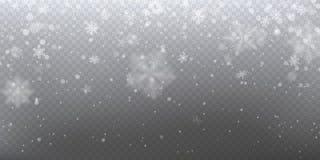 Nieve que cae realista con los copos de nieve blancos, efecto luminoso stock de ilustración