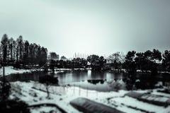 Nieve que hace turismo alrededor del lago Foto de archivo