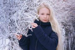 Nieve que sopla de la muchacha del invierno Belleza Girl modelo adolescente alegre que se divierte en parque del invierno Muchach Foto de archivo