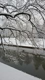 Nieve - río en el invierno Imágenes de archivo libres de regalías