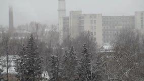 Nieve sobre el área de la producción almacen de video