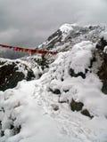 Nieve sobre el bazar de Namche Foto de archivo