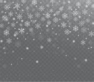 Nieve transparente brillante que cae ilustración del vector
